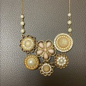 Gold with pink and Pearls Necklace